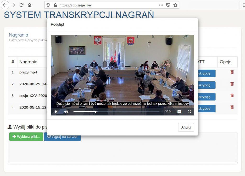 Transkrypcje sesji